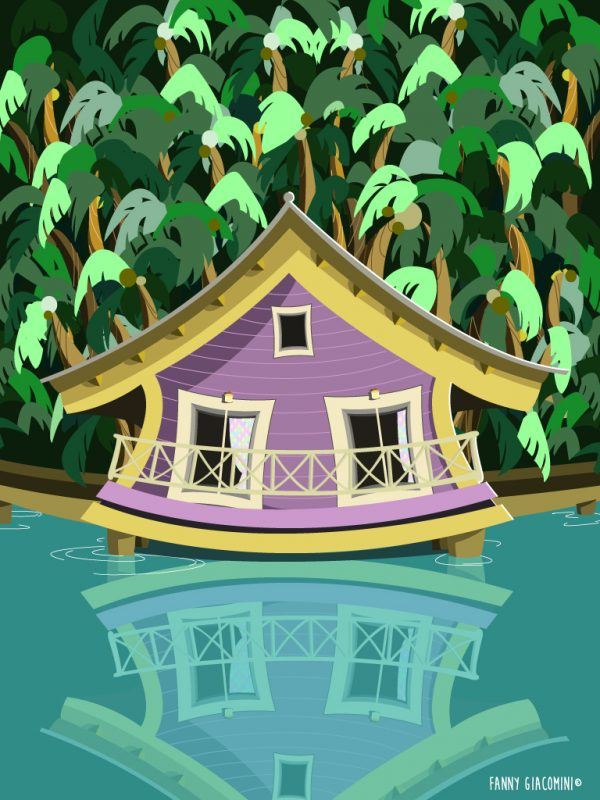 Maison violette sur un lac bleu lagon