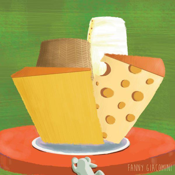 souris grimpe sur table pleine de fromage