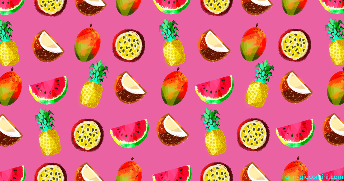 motif fruits exotiques rose food illustration illustrateur