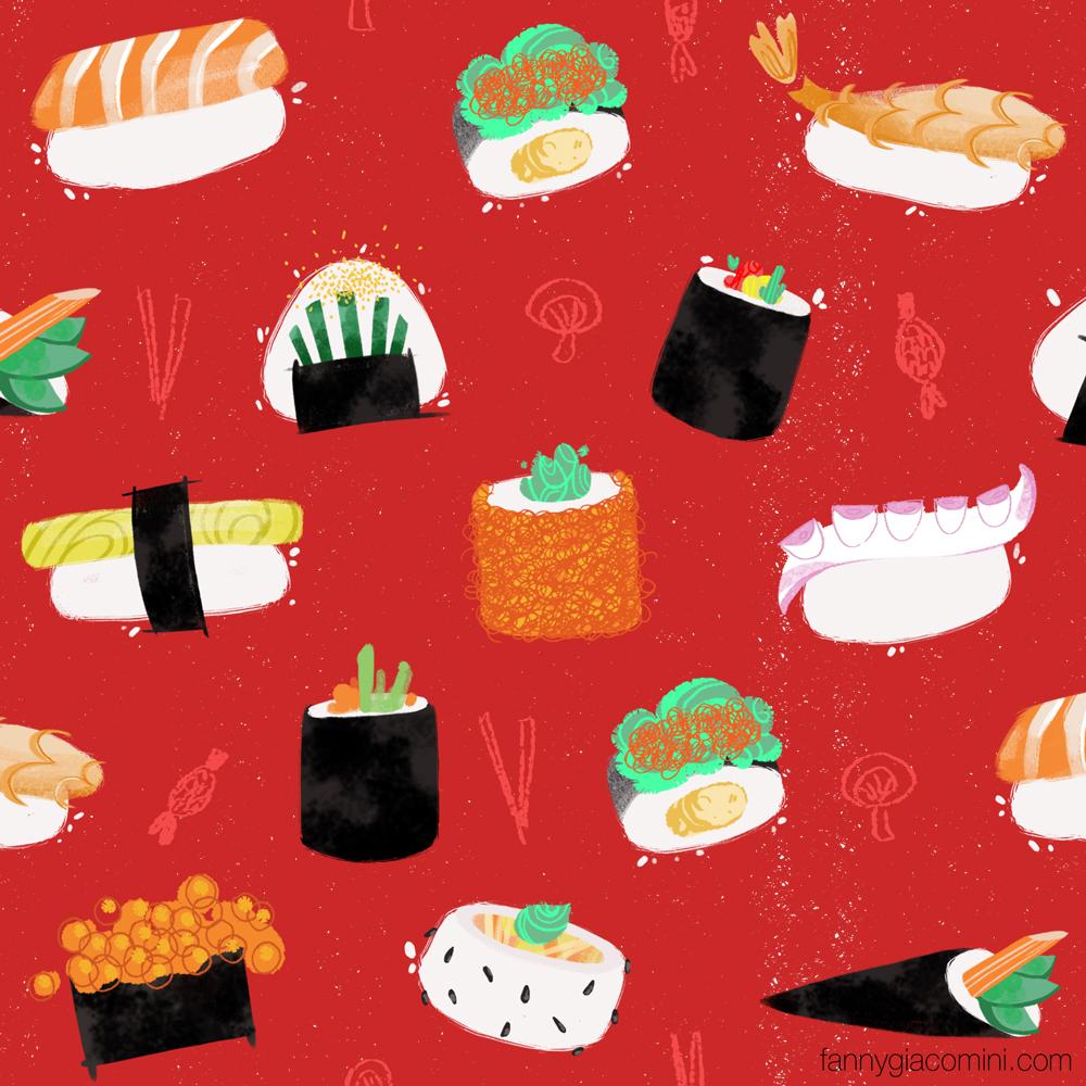 Motif japonais (sushis)