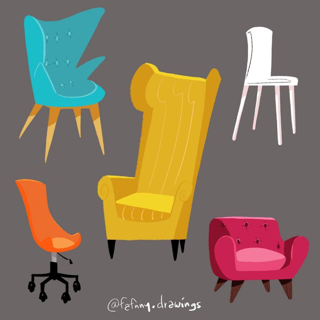 fauteuils meubles prop animation illustratrice illustrateur lille dessin