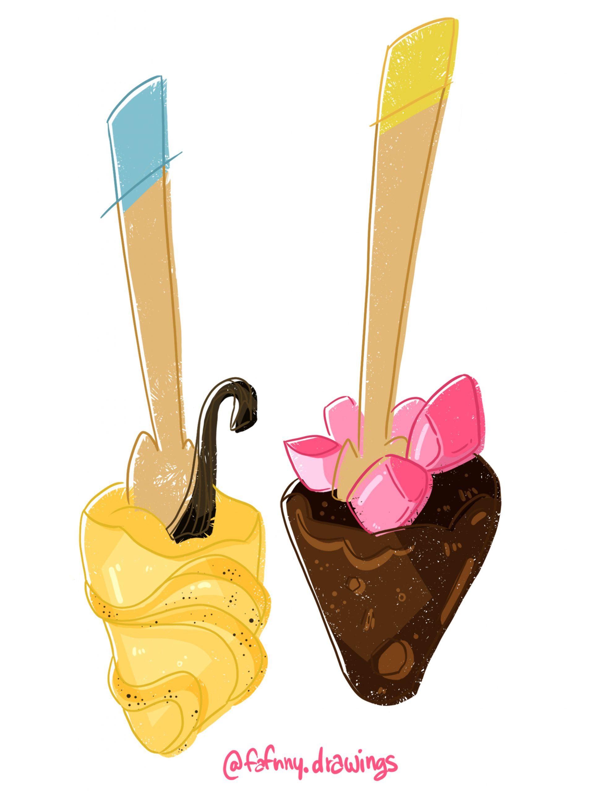 Illustration : cuillères dans du chocolat