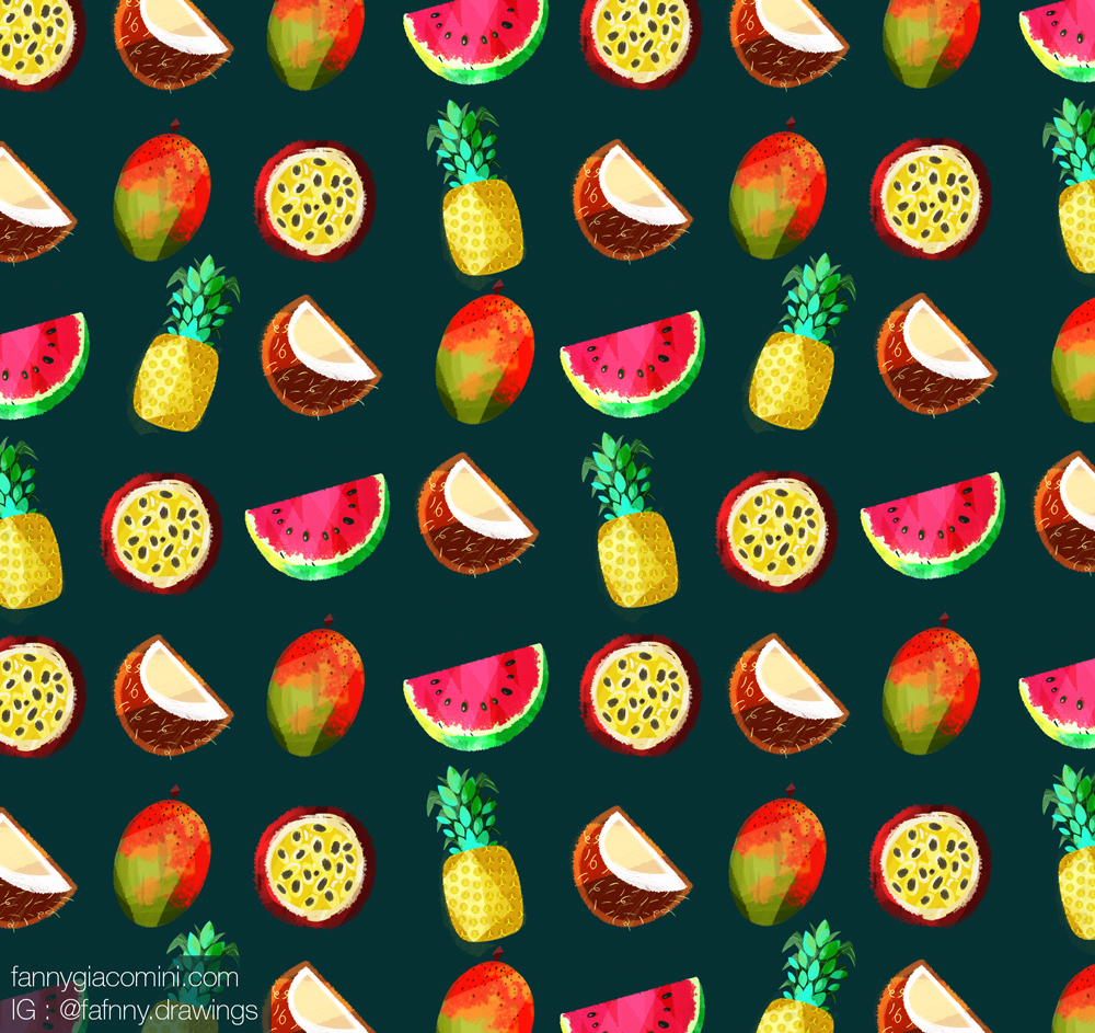 fruit exotique illustration dessin lille freelance motif fruits tropical
