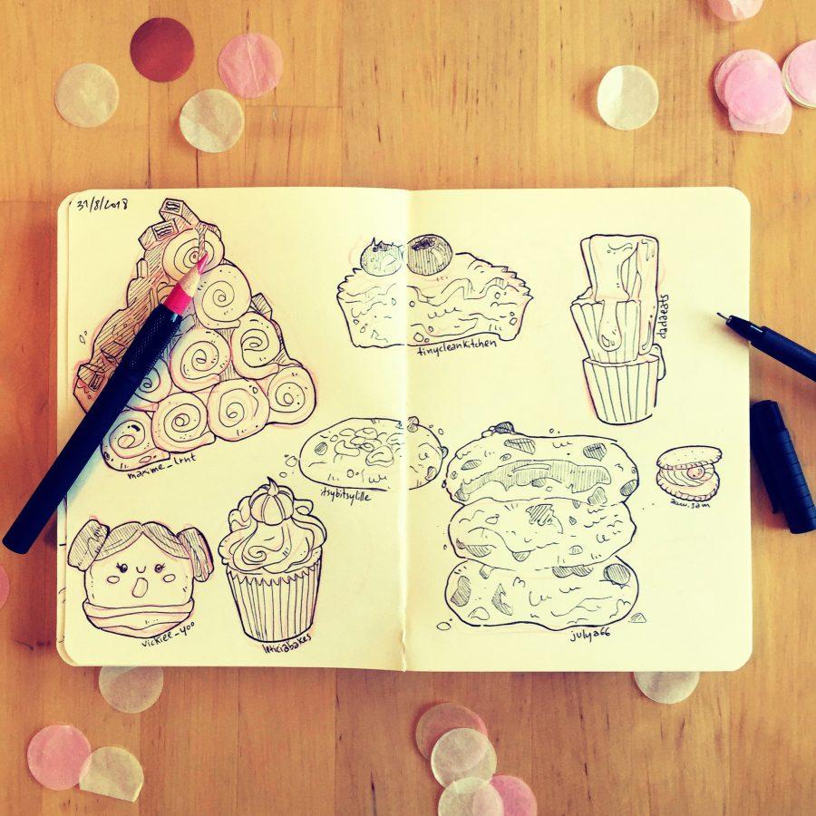 food illustration sketch croquis illustrateur gateaux