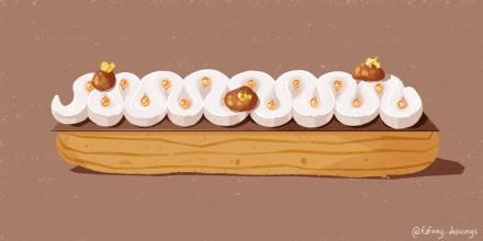 Dessin d'une pâtisserie – Eclair de Cyril Lignac