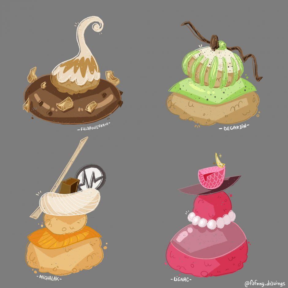 props-religieuses-patisseries-françaises-illustration-food illustration-dessin