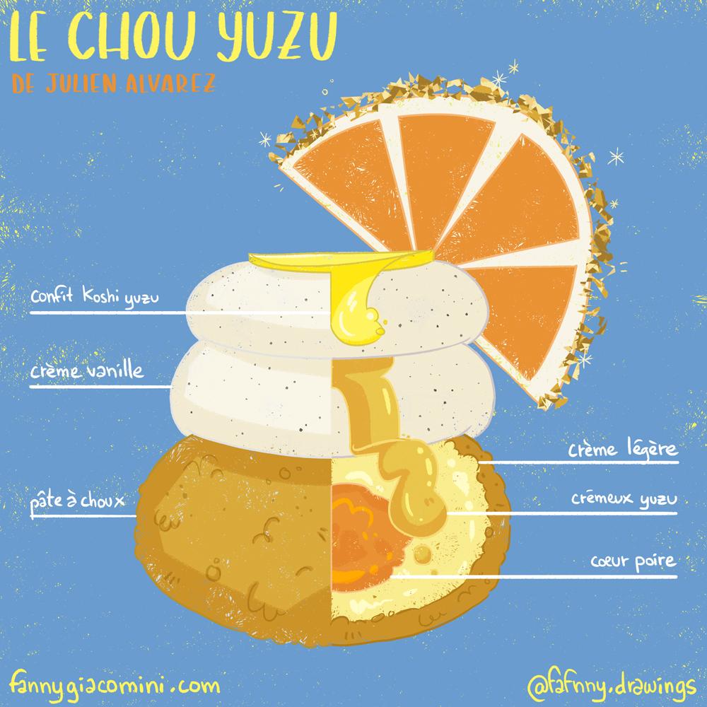 dessinateur illustrateur illustration chou yuzu patissier